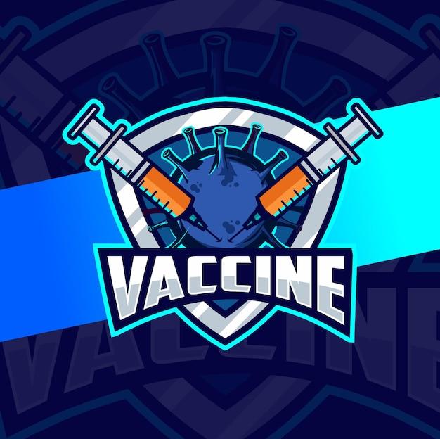 Projekt e-sportu logo wirusa choroby koronowej szczepionki