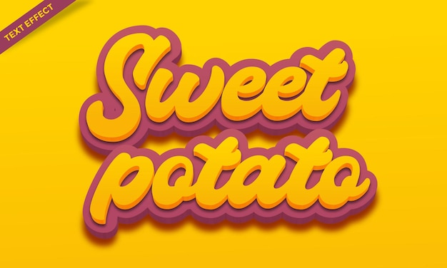 Projekt efektu tekstowego słodkich ziemniaków