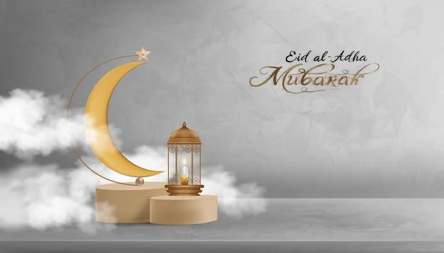 Projekt eid al adha mubarak z półksiężycem i gwiazdą wiszącą na podium