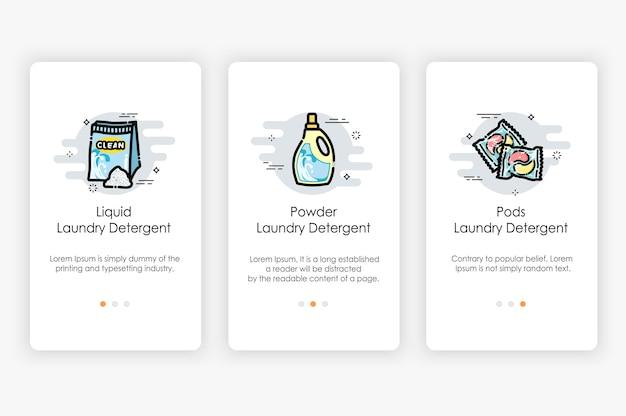 Projekt ekranów pokładowych w koncepcji detergentu do prania. nowoczesny i uproszczony szablon dla aplikacji mobilnych.