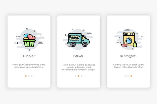 Projekt ekranów pokładowych w koncepcji pralni i pralki. nowoczesna i uproszczona ilustracja, szablon aplikacji mobilnych.