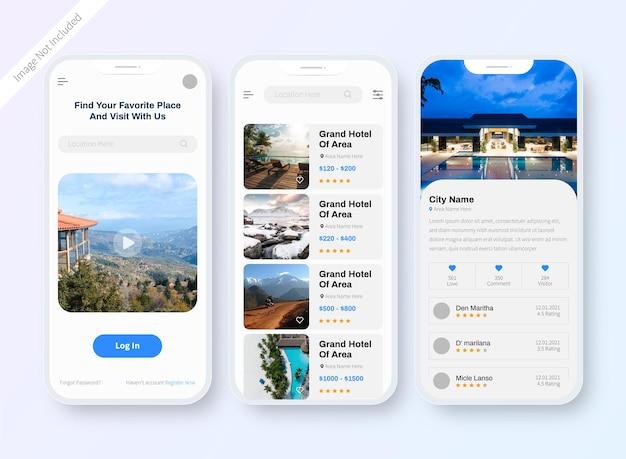 Projekt ekranu aplikacji hotel resort ui