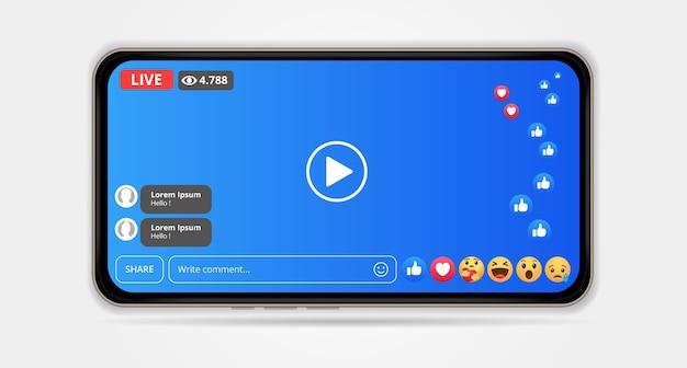 Projekt ekranu do przesyłania strumieniowego na żywo w serwisie facebook na smartfonach. ilustracja