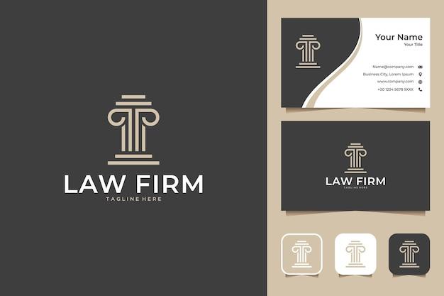 Projekt eleganckiego logo firmy prawniczej i wizytówki
