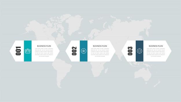 Projekt elementu infographic trzy kroki na osi czasu