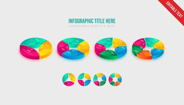 Projekt elementu szablonu obiektu izometryczny plansza kolorowe koło gradientu