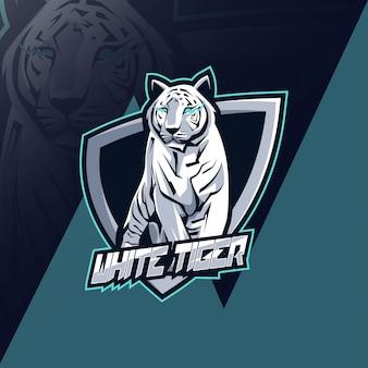 Projekt esport logo maskotka biały tygrys