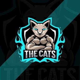 Projekt esport logo maskotki kota mięśni