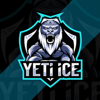 Projekt esport logo maskotki lodu yeti