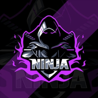 Projekt esport logo maskotki ninja