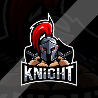 Projekt esport logo maskotki rycerza