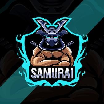Projekt esport logo maskotki samuraja