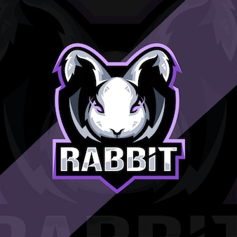 Projekt esport logo maskotki wściekły królik