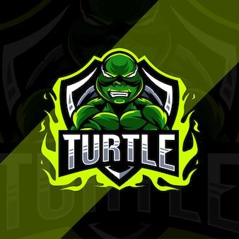 Projekt esport logo maskotki żółwia