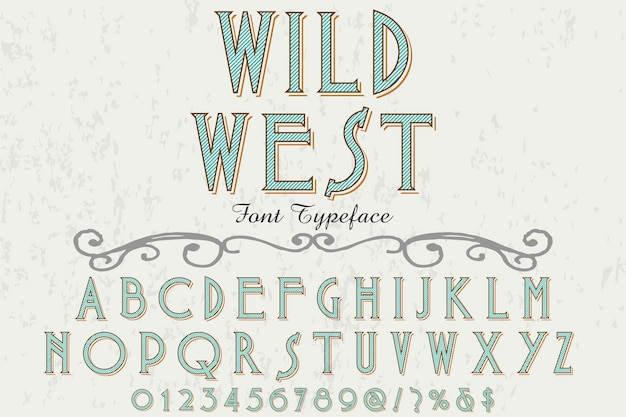Projekt etykiety czcionki dziki zachód