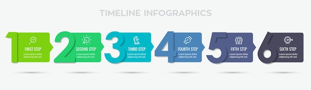 Projekt etykiety infografiki z 6 opcjami lub krokami. infografiki dla koncepcji biznesowej. może być używany do banerów prezentacji, układu przepływu pracy, diagramu procesu, schematu blokowego, wykresu informacyjnego
