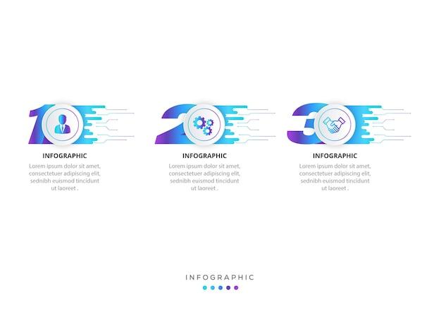 Projekt etykiety infografiki z ikonami i 3 opcjami lub infografikami kroków dla koncepcji biznesowej