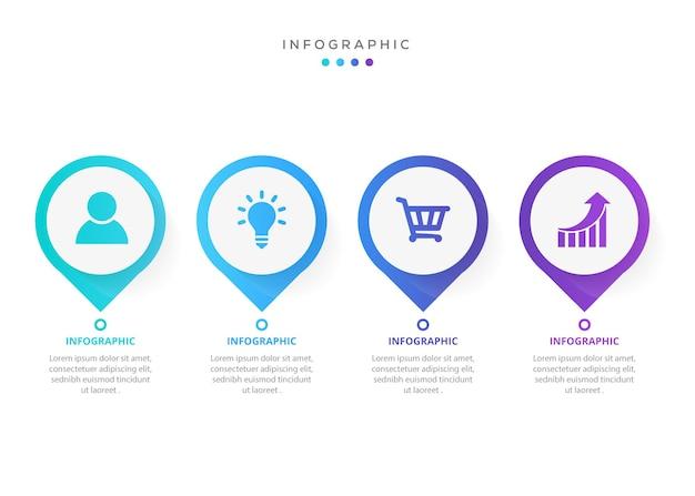 Projekt etykiety infografiki z ikonami i 4 opcjami lub infografikami kroków dla koncepcji biznesowej