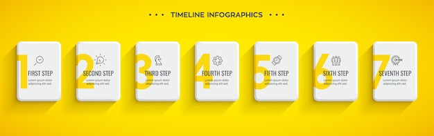 Projekt etykiety infografiki z ikonami i 7 opcjami lub krokami. infografiki dla koncepcji biznesowej.