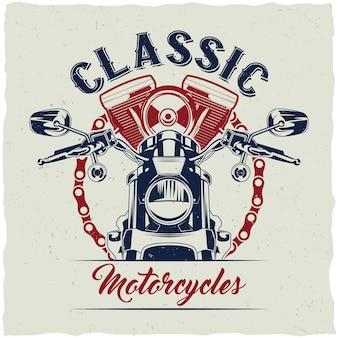 Projekt etykiety koszulki motocyklowej z ilustracją klasycznego motocykla.