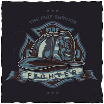 Projekt etykiety koszulki strażaka z ilustracją przedstawiającą hełm ze skrzyżowanymi siekierami.