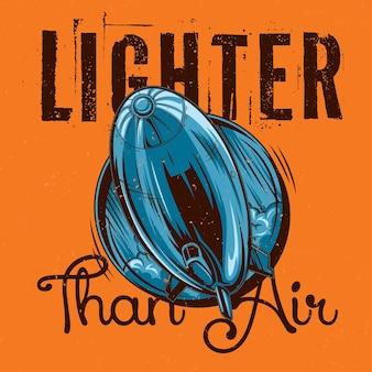 Projekt etykiety koszulki z ilustracją latającego sterowca.