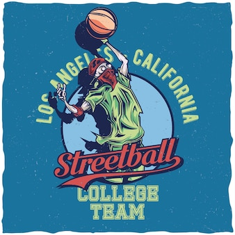 Projekt etykiety koszulki z ilustracją przedstawiającą streetball gracza