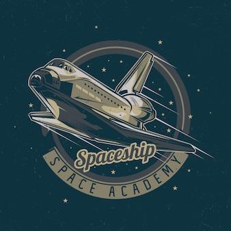 Projekt etykiety koszulki z motywem kosmicznym z ilustracją statku kosmicznego