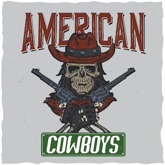 Projekt etykiety kowbojskiej koszulki z ilustracją przedstawiającą czaszkę w kapeluszu z dwoma pistoletami w rękach.