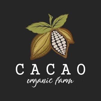 Projekt etykiety logo farmy ekologicznej kakao dla twojego produktu, ikona owoców czekolady prosty minimalistyczny zielony liść.