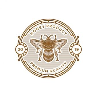 Projekt etykiety logo miodu