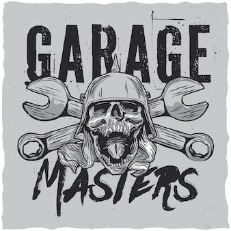 Projekt etykiety mistrzów garażu