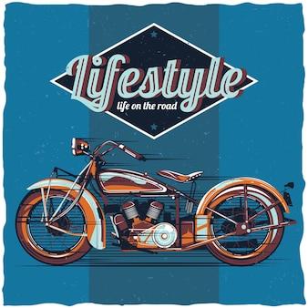 Projekt etykiety motocykla