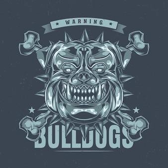Projekt etykiety na koszulkę z ilustracją przedstawiającą głowę pitbulla