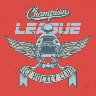 Projekt etykiety na koszulkę z ilustracją przedstawiającą maskę hokejową, kije hokejowe i krążek