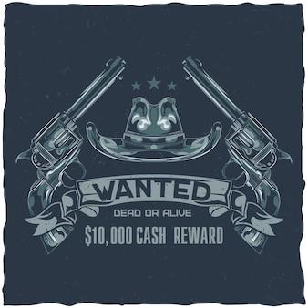 Projekt etykiety na koszulkę z ilustracją przedstawiającą saloon, kapelusz i pistolety