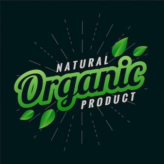Projekt etykiety naturalnego produktu ekologicznego z liśćmi
