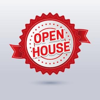 Projekt etykiety otwarty dom nieruchomości