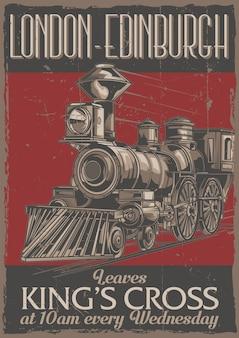 Projekt etykiety plakatu z ilustracją klasycznego pociągu