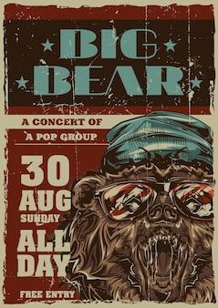 Projekt etykiety plakatu z ilustracją niedźwiedzia w stylu hipster w kapeluszu i okularach