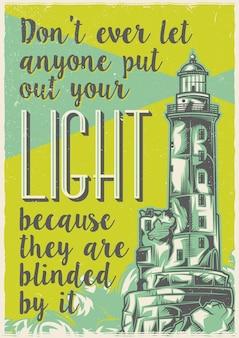 Projekt etykiety plakatu ze starą latarnią morską.
