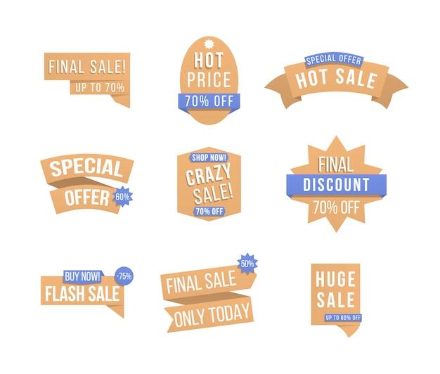 Projekt etykiety rabatowej, odznaki sprzedaży, kupony. etykiety i tagi z informacjami reklamowymi do promocji i dużych wyprzedaży. specjalna kolekcja tagów, elementy banerów na stronę internetową i reklamy.