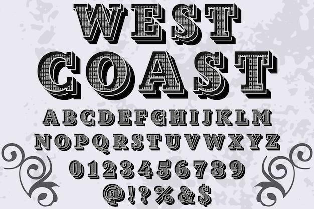 Projekt etykiety rocznika alfabetu zachodniego wybrzeża