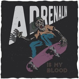 Projekt etykiety t-shirt deskorolka z ilustracją szkieletu grającego na deskorolce.