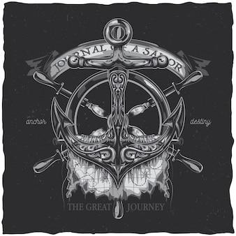 Projekt etykiety t-shirtu w żeglarskim stylu z ilustracją kotwicy.