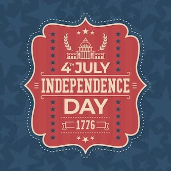 Projekt etykiety vintage dzień niepodległości usa