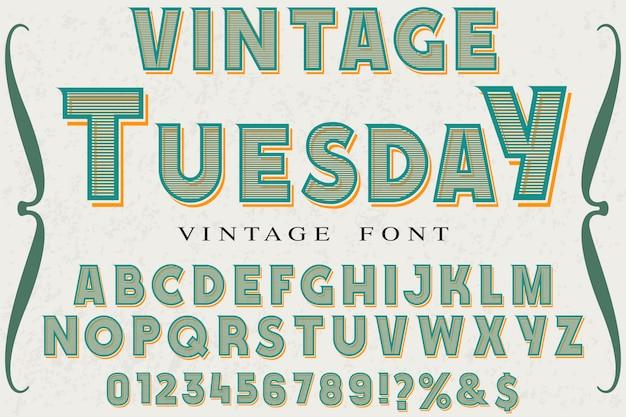 Projekt etykiety vintage napis wtorek