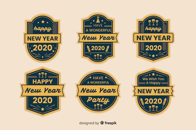 Projekt etykiety vintage nowy rok 2020