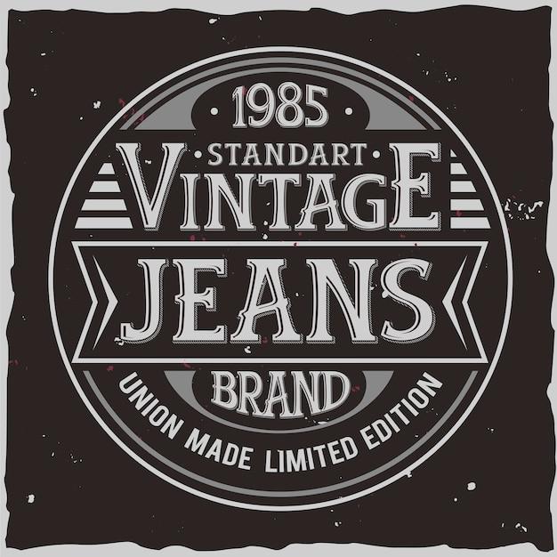 Projekt etykiety vintage z kompozycją napis na ciemnym tle. projekt koszulki.