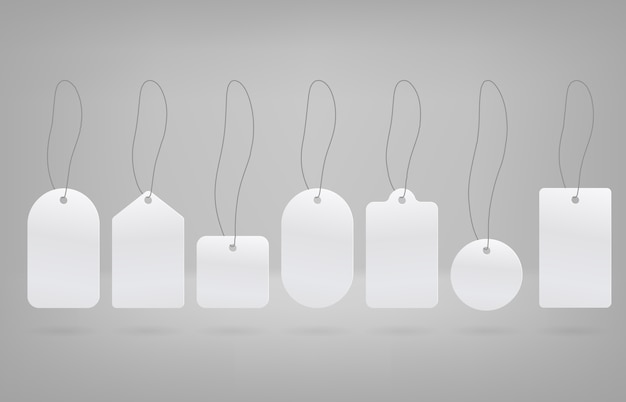 Projekt etykiety wektorowej. białe kształty etykiet